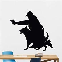 Etiqueta De La Pared De La Policía Y Del Perro, Etiqueta De La Pared De La Etiqueta Del Vinilo Para La Decoración Del Hoga...