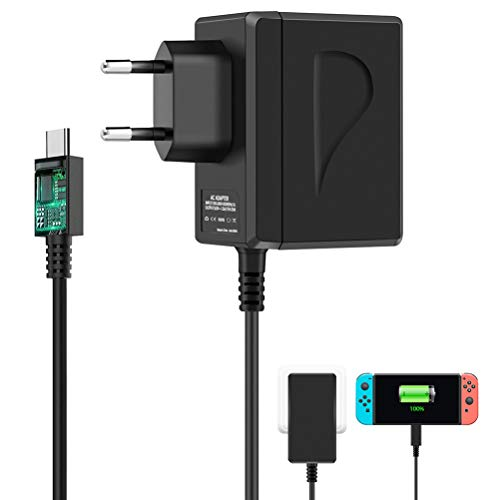 Nintendo Switch Ladegerät, Switch Lite Ladegerät, 2 in 1Nintendo Switch Netzteil PD Typ-C Wand Reise-Ladegerät für Nintendo Switch, Arbeit mit Switch Dock Station, TV-Modus unterstützt