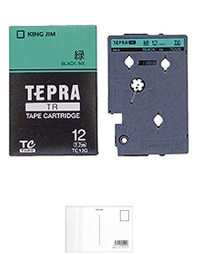 キングジム テープカートリッジ テプラTR 12mm TC12G 緑 + 画材屋ドットコム ポストカードA