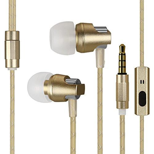 In Ear Ohrhörer Kingyou Kabelgebundene Headsets Bass Kopfhörer für Handys MP3-Player Tablets Sony iPhone 6 6S Samsung ipod iPad usw KM02(Gold)