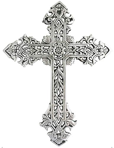 Decorative Family Wall Cross Large Metal Decorations For Home - Religious Metal Hanging Cross Wall Decor, Best For Home And As A Gift - Silver Nickel Finish Wall Art, Black Glazed, by ABY DECOR