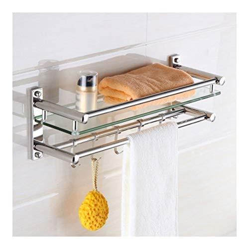 ZhanMazwj Toallero de baño con estantes de cristal y toallero con ganchos y barra de toalla de 1 nivel de ducha de cristal SUS304 soporte de pared de acero inoxidable 02.01, acero inoxidable, 60 cm