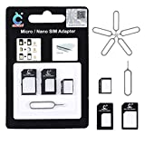 SICH Sim Card Adapter, Nano Micro to Standard 4 in 1 Converter Kit with Steel Tray Eject Pin, Reversible Sim Card Storage Tool Set Adapter