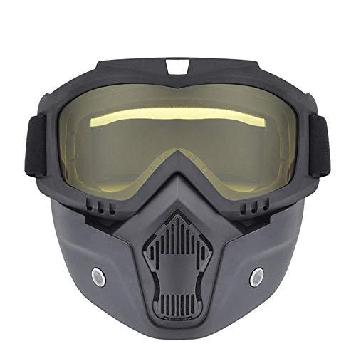 Motocross Modular Mask Afneembare veiligheidsbril en mondfilter, perfect voor motorfiets-halve helmbrillen met open gezicht Gele veiligheidsbril