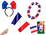 Alsino 4 TLG Frankreich Fanset FP-30 Fussball Fanartikel Public Viewing Set Fahne Schminke -