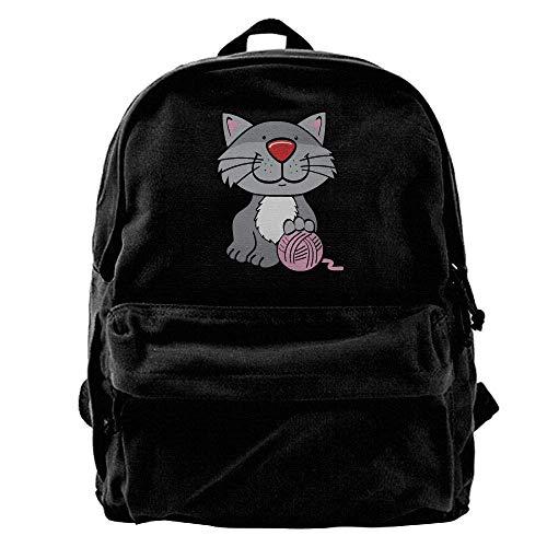 Zaini Casual, Zaini per PC portatili, Unisex Classic Canvas Backpack Cat Yarn Unique Print Style,Fits 14 Inch Laptop,Durable,Black