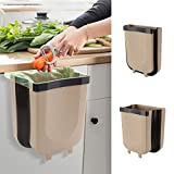 Hanging Trash Can Small Kitchen Waste Bin Cabinet Collapsible Mini Garbage Can for Home/Car/Bathroom/Office/Bedroom/Camping -2.4 Gallon