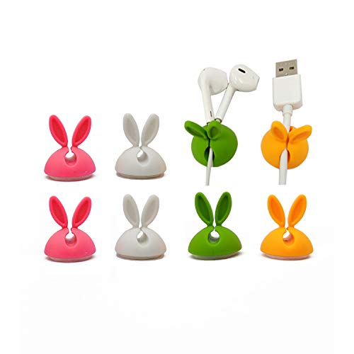 Cable Clips(8 Packs), Cable Clips, Wire Holder, Cable Holder for Table,Desk,Wall,Car,Computer, Laptop, Phone Charging Cable,Micro USB Cable,Mouse,Keyboard,Headphone,Office,Home,Cubicle Cute Rabbit