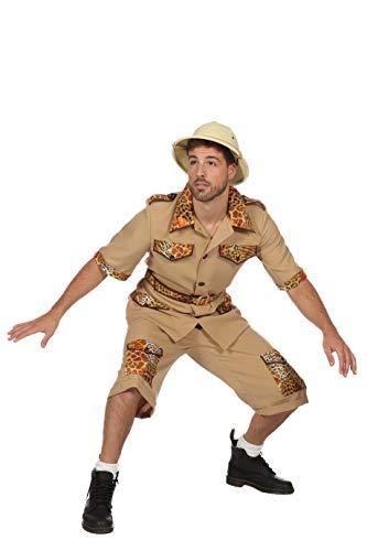 Safari Kostüm Herren Hemd und Hose (ohne Hut) Archäologe Karneval Fasching Hochwertige Verkleidung Fastnacht Größe 50 Beige