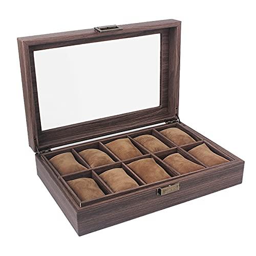 Caja de Relojes para Organizadora y Exhibición, Grano de madera vintage PU Cuero 10 Grids Watch Box Organizer para Hombres Pantalla de pantalla Lockable Caja de almacenamiento Joyas Showcase Expositor