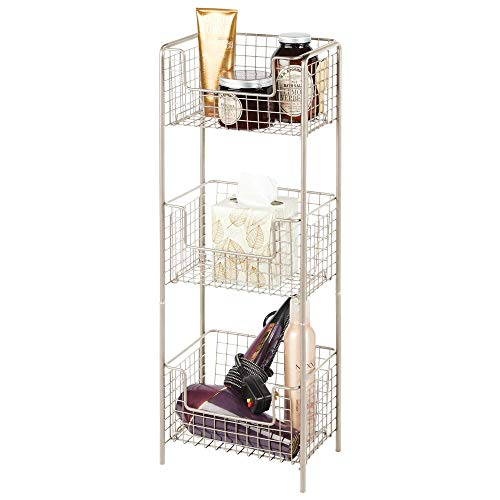 mDesign 3 Tier Vertical Standing Bathroom Shelving Unit Decorative Metal Storage Organizer Tower Rack Center with 3 Basket Bins to Hold and Organize Bath Towels Hand Soap Toiletries  Satin
