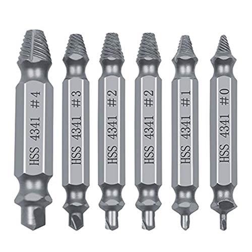 Dowou El ajuste del extractor de extractor de tornillo dañado de 6 piezas se prepara fácilmente para sacar el tornillo roto, el removedor de perno removedos de los tornillos despojados de las herramie
