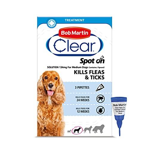Bob Martin Clear | Spot On Flea Treatment for Medium Dogs (10-20 kg) | Kills Fleas, Ticks & Lice | Fast Control, 24 Week Protection (3 Pipettes)