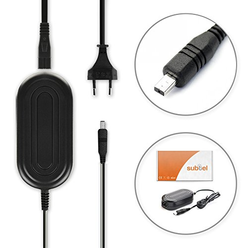 subtel® Cargador Compatible con Samsung VP-MX20 -MX10 SMX-F30 -F34 VP-D371 -D361 -D351 SC-MX20 -L906 -DX103 -D353 VP-DC171 -DC161 VP-DX100 AA-E6A AA-E7 AA-E8 AA-E9 Fuente alimentación Cable Carga