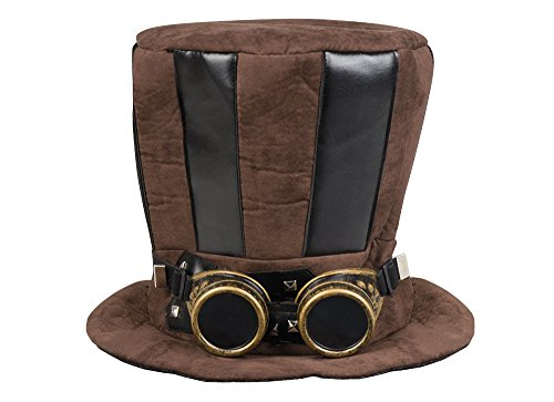 Boland 54514 - Hut Starepunk mit Fliegerbrille, braun, viktorianischer Hut, Steampunk, Motto Party, Karneval