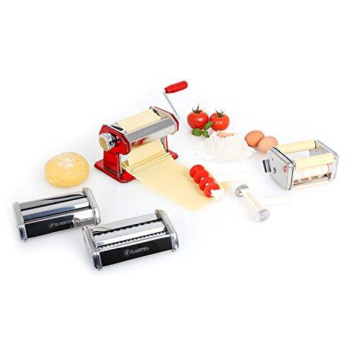 Klarstein Siena Rossa - Pasta Maker, Nudelmaschine, Pastamaschine, verchromter Edelstahl, Teigbreite 150 mm, Knetwalze verstellbar, Schneidwerkzeug, inkl. Teigschneider und Tischklemme, rot
