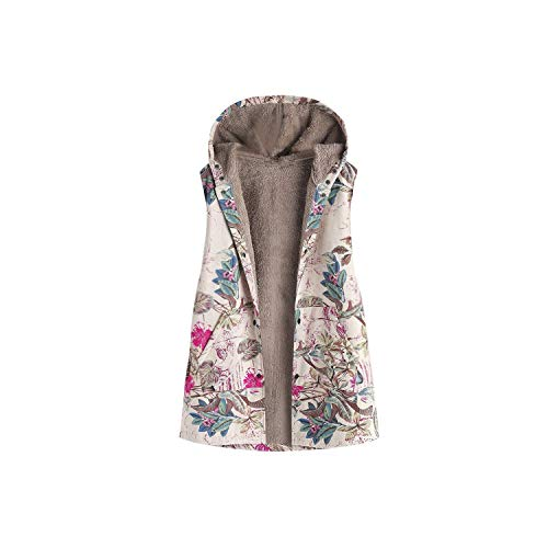 Women Fur Waistcoat Office Lady Winter Warm Vests Outwear Floral Print Hooded Pockets Vintage Oversize Coats Plus Size 5XL