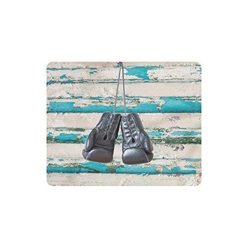 Paar Boxhandschuhe auf blauem rustikalem Holzwand Rechteck rutschfestes Gummi-Mauspad, Gaming-Mauspad-Mausmatte für Frau Mann Angestellter Chef Arbeit