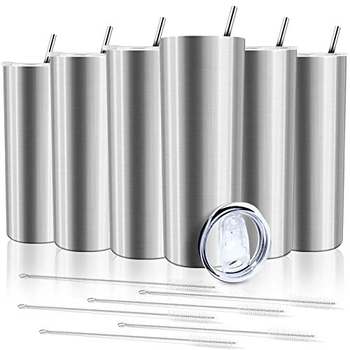 XccMe 20 oz Skinny Tumblers with Straws, 6 Pack Stainless Steel Double Wall Insulated Cups with Lids Travel Mug, for Men and Women, Beverages,coffe (Silver)