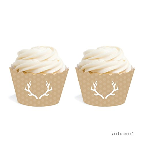 Andaz Press Birthday Cupcake Wrappers, Tan Deer Antlers, 20-Pack, Decor Decorations Wraps Cupcake Muffin Paper Holders