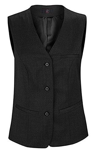 Greiff Damen-Weste mit Drei Knöpfen | 4 Taschen | Mit Stoffrücken | Stretch | Farbe: Schwarz | Größe: 48
