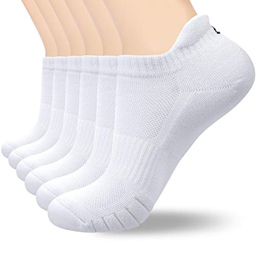 coskefy 6 Paar Sneaker Socken Herren Damen Gepolsterte Laufsocken 35-50 Schwarz Weiß Grau Baumwolle Sportsocken Atmungsaktiv (Weiß-3(6 Paare), L(43-46))