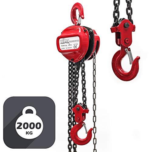 Polipasto manual de cadena 2000kg con cadena 3m y altura de elevación de 3m, para levantar cargas