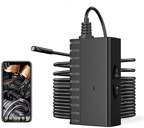 YUKM 5M Hard Draht 5,5 Mm 2,0 MP Dual-Linsen Industrial Rohr Endoskop, Schlangeninspektionskamera, IP67 wasserdichte Kamera, Autoinspektion, Mit 1200Mah-Akku