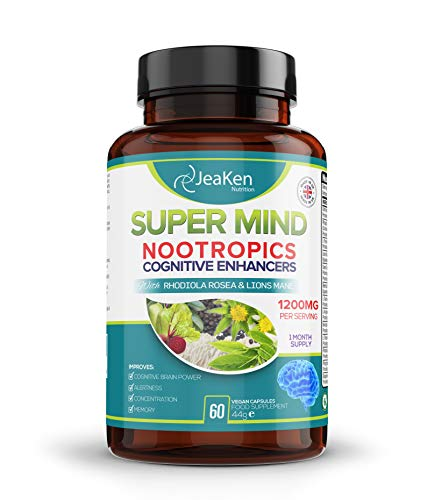 JeaKen Super Mind - NOOTROPICS Cognitive Enhancer - Brain Boost Increased Concentration Alertness and Memory - Focus Pills Packed with Natural Ingredients (60 Vegan Capsules - New)