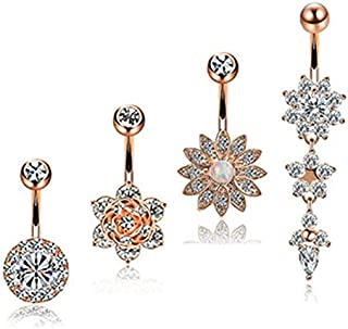 4pcs/set Stainless Steel Flower Crystal Navel Bars Gold Belly Button Ring Navel Piercing Jewelry Body Jewelry Piercing Bar...