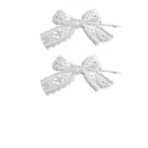 SG PARIS Accessoires Cheveux Epingles à cheveux Set 2 pièces Métal argenté tissu Dentelle Blanc Cérémonie