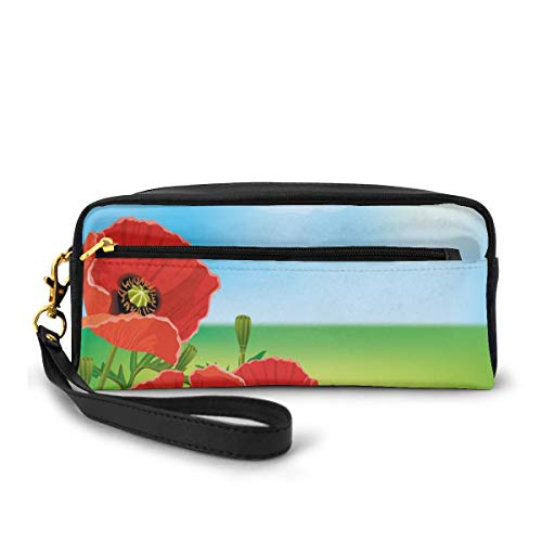 Pencil Case Pen Bag Pouch Stationary,Sunny Day is Upon The Green Hills of The Country Red Summer Blossoms Growth,Small Makeup Bag Coin Purse