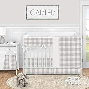 Sweet Jojo Designs Grey Woodland Plaid Baby Boy or Girl Nursery Crib Bedding Set – 5 Pieces – Gray White Rustic Buffalo Check Flannel Country Lumberjack