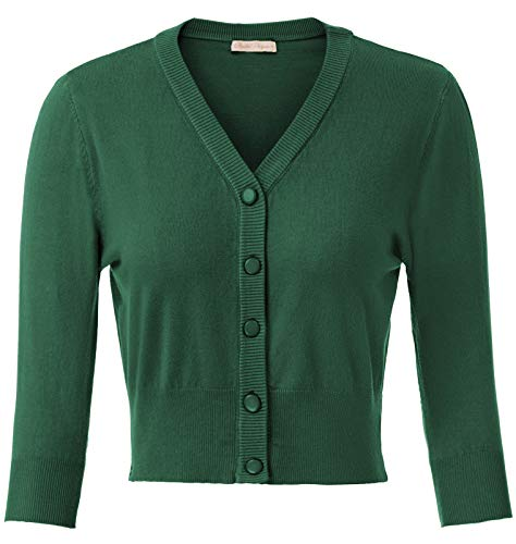 Belle Poque 60s Women Cmofy Cropped Length Solid Color Cardigan Knitted Shrug Dark Green(928-12) Medium
