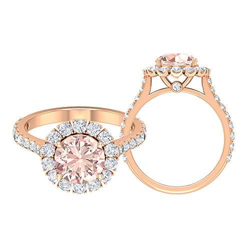 Anillo de halo solitario, anillo cónico con piedras laterales, piedra preciosa de 3,41 quilates, anillo catedral, 10K Oro rosa, Size:EU 60