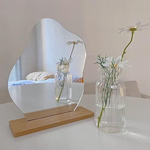 Unregelmäßiger Make-up-Spiegel für den Schreibtisch aus Holz, Acrylspiegel, Kindergarten, Dekoration, Mädchenzimmer, Fotografie-Requisiten (unregelmäßige Form)
