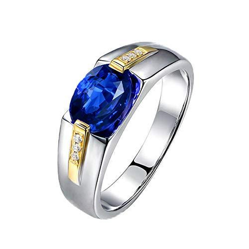 YCGEMS Anello da Fidanzamento con Zaffiro con Diamante Naturale in Oro Massiccio 18 ct, con Zaffiro da Uomo,M1/2