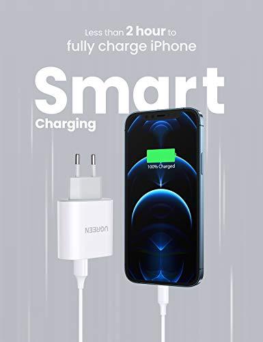 UGREEN USB Ladegerät mehrfach 3.4A Ladestecker USB 2 Ports mit intelligent Technologie USB Netzteil kompatibel mit iPhone 11 X 8 7, iPad, Galaxy S10 S9 A51, Handys, Kamera,Tablets usw. (Weiß)