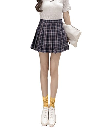 Hoerev Frauen Mädchen Kurze hohe Taille gefaltete Skater Tennis Schule Rock,Schwarze Streifen,38 / L