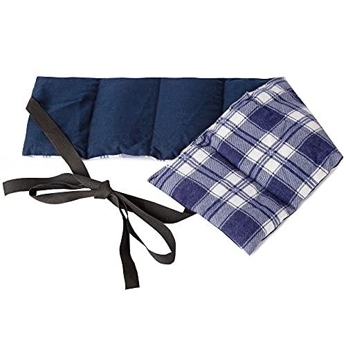 Cojín de lino de 7 cámaras con cinta, 65 x 15 cm, cojín de calor, cojín lumbar, cojín con cintas, semillas de lino, franela de cuadros azul