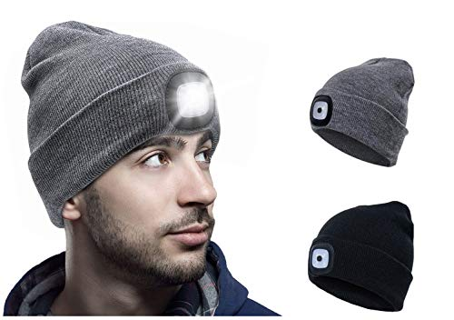 Hat with Light, USB Rechargeable LED Beanie hat, Winter Warm Gifts for Men Dad Him Women Her, Unisex Lighted Headlamp Cap for Walking at Night,Biking,Fishing,Camping,Hunting (Grey)