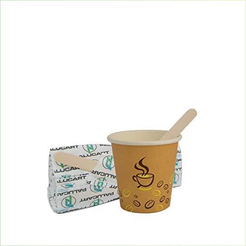 Palucart 500 Bicchieri in Carta per Caffe 75ml Bicchierini Colore Avana Grafica Chicco di Caffe' biodegradabili cartoncino per Bevande Calde Cappuccino caffè + 500 Palette in Legno di Betulla