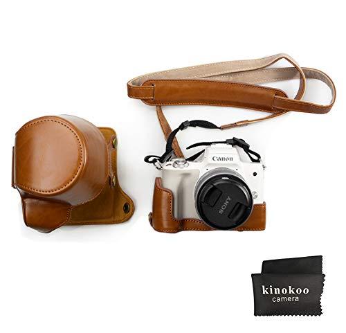 Canon EOS M50, custodia completa kinokoo per Canon EOS M50 e obiettivo 15-45mm, custodia protettiva in pelle PU Cover Cover (marrone)