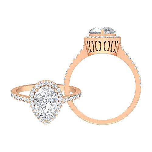 Rosec Jewels 14 quilates oro rosa pera Round Brilliant Moissanite