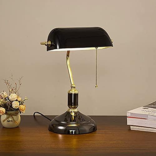 HIGHKAS Lámpara de Mesa Antigua clásica Art Déco, lámpara de Escritorio de Estilo Retro/lámpara de banquero/lámpara de Oficina Pantalla de Vidrio, Interruptor de Tiro y Base sólida de latón para Sal