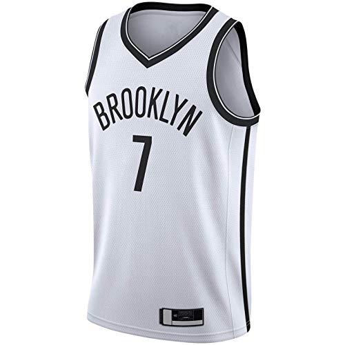 DENGPAO Blanco -Kevin Basketball Jersey Durant Camiseta de manga corta Brooklyn Bordado Nets #7 2019/2020 Swingman Jersey Association Edition-S