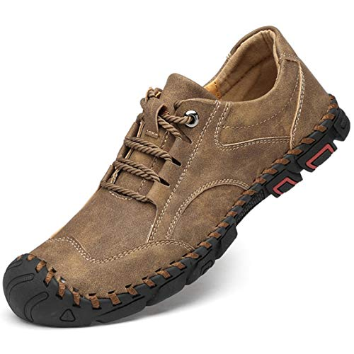 MAIZUN Mens Casual Leather Loafers Breathable Flat Lace Up Driving Shoes Outdoor Lightweight Anti Slip Walking Shoes Khaki
