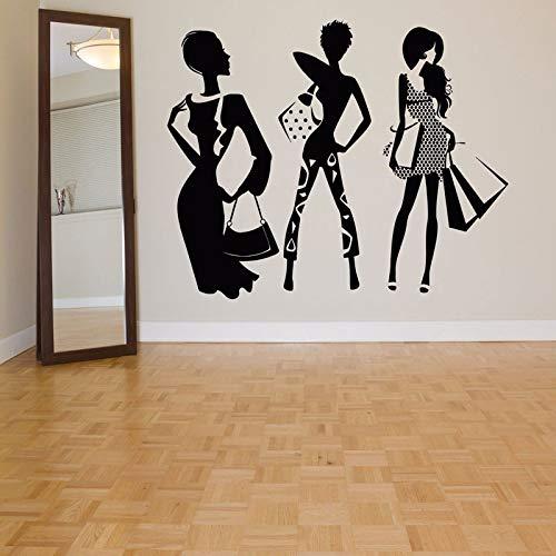 Pegatinas de pared, moda Mujer Compras Vinilo Pegatinas de pared Ropa Tienda Pegatinas de decoración de escaparates Hogar Dormitorio Decoración Pintura 70x57cm