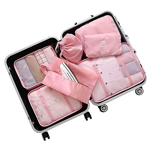 Pinpig Cubos de Embalaje para Viaje, Organizadores de Embalaje de Equipaje a Prueba de Agua, Cubos de Embalaje Bolsas con cordón, Bolsa de Tela para Zapatos