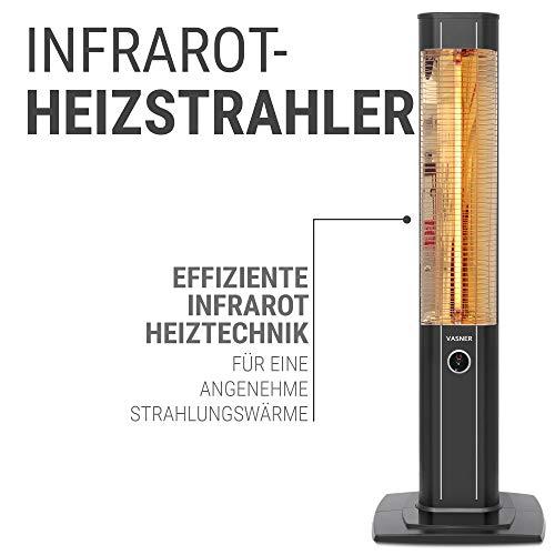 VASNER StandLine 25R Infrarot Stand-Heizstrahler – schwarz – 2500 Watt, 4 Stufen Dimmer, Fernbedienung, Terrassenstrahler elektrisch, Infrarotstrahler - 4